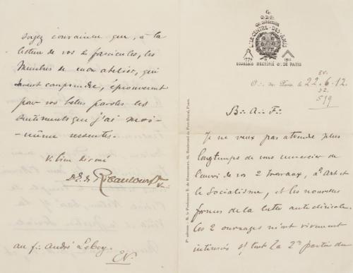 Lettre manuscrite à en-tête du « Centre des Amis » rédigée par son vénérable Edouard de Ribeaucourt, adressée à André Lebey. Deux feuillets datés 22.06.1912..png